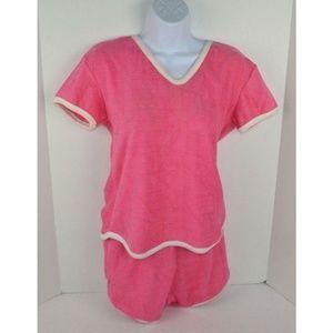 Vintage 1980s Terry Cloth Shirt & Shorts Set